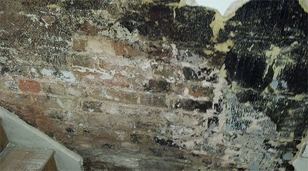 Unconverted basement. The timbers staircase is at risk from Wet and Dry Rot from the wet walls.